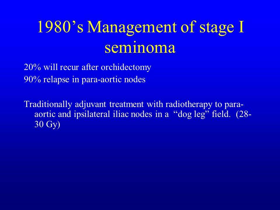 1980's Management of stage I seminoma