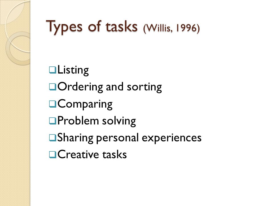 Types of tasks (Willis, 1996)
