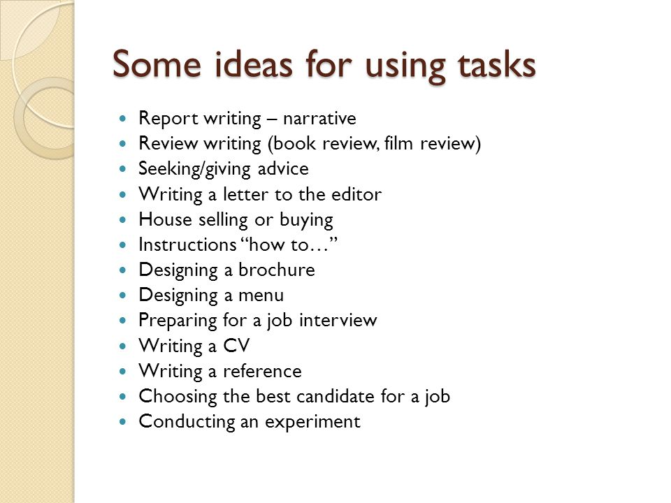 Some ideas for using tasks