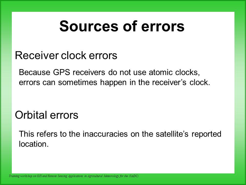 Sources of errors Receiver clock errors Orbital errors