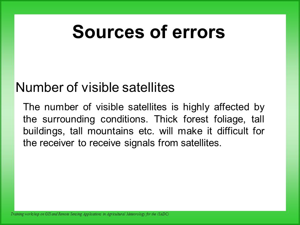 Sources of errors Number of visible satellites