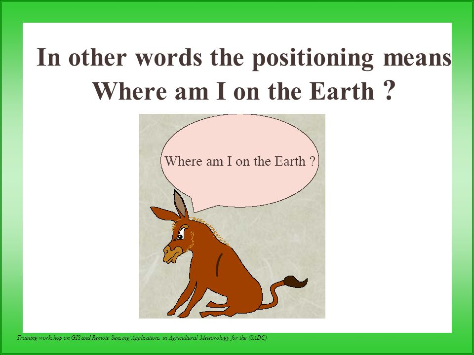 In other words the positioning means Where am I on the Earth