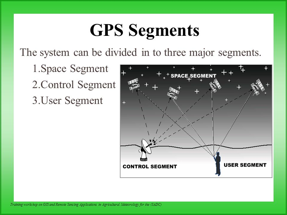 GPS Segments The system can be divided in to three major segments.