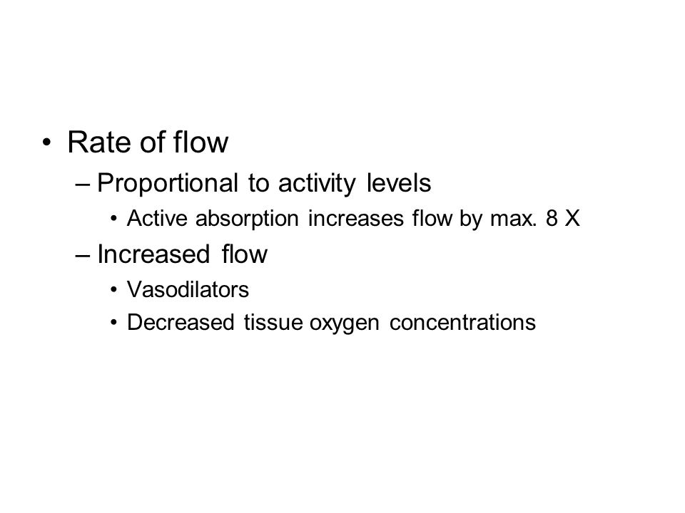 Rate of flow Proportional to activity levels Increased flow