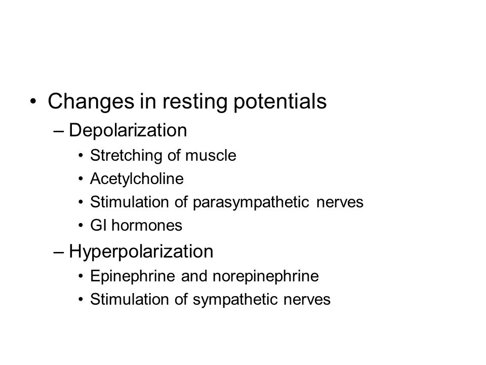 Changes in resting potentials