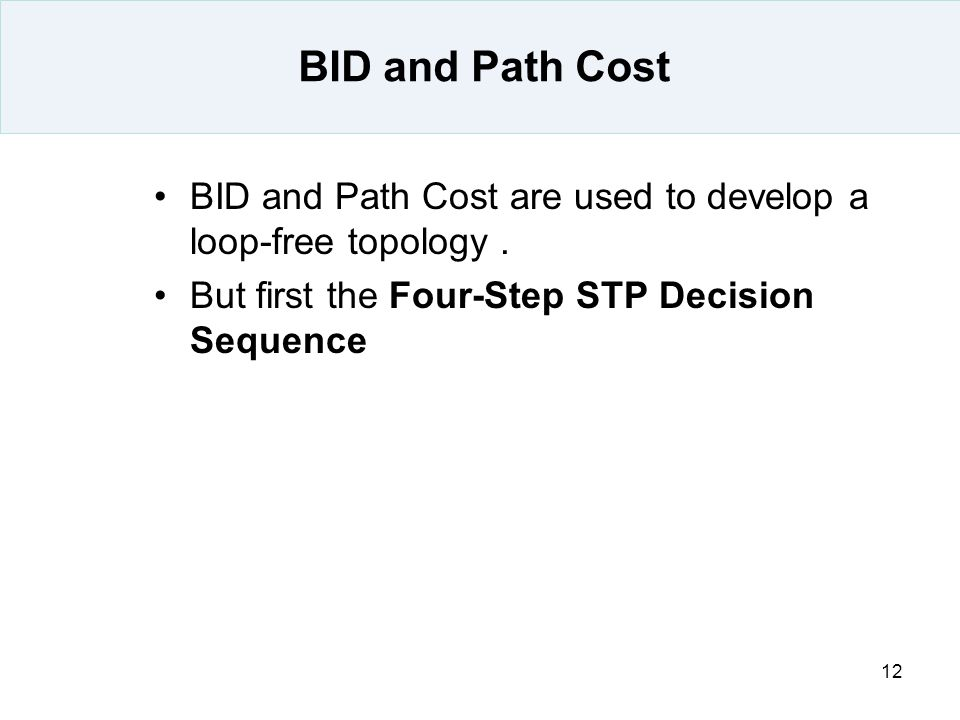BID and Path Cost BID and Path Cost are used to develop a loop-free topology .