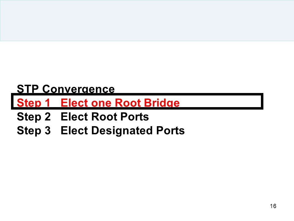 STP Convergence Step 1 Elect one Root Bridge Step 2 Elect Root Ports Step 3 Elect Designated Ports