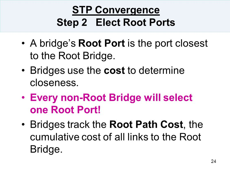 STP Convergence Step 2 Elect Root Ports