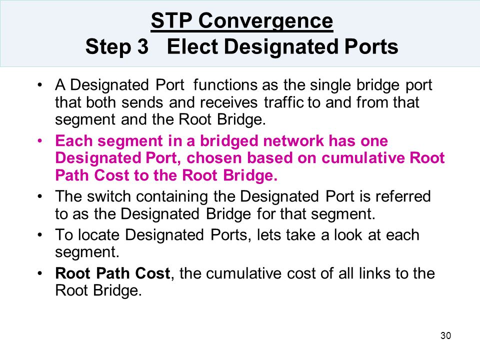 STP Convergence Step 3 Elect Designated Ports