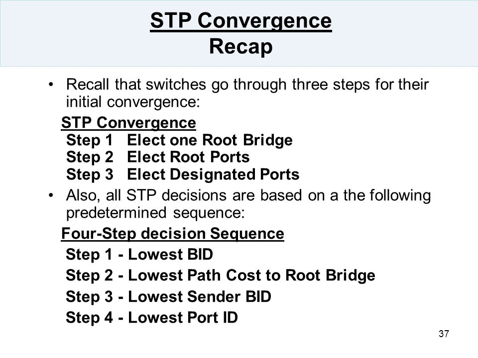 STP Convergence Recap Recall that switches go through three steps for their initial convergence:
