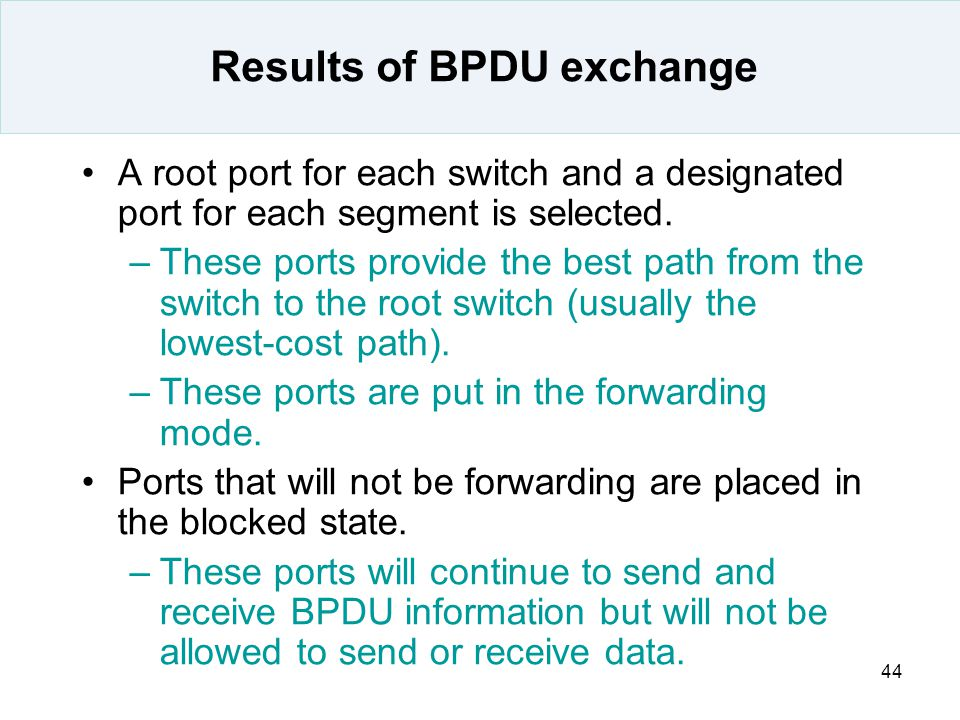 Results of BPDU exchange