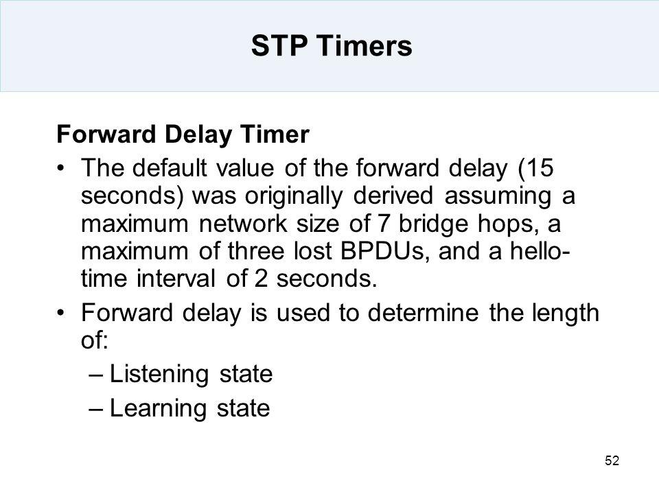 STP Timers Forward Delay Timer