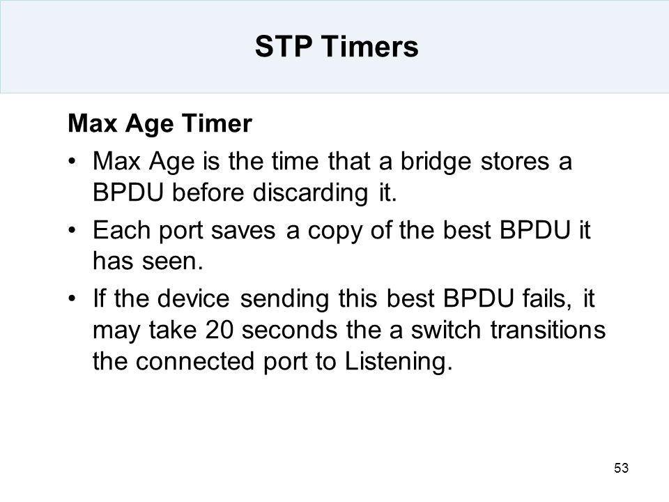 STP Timers Max Age Timer