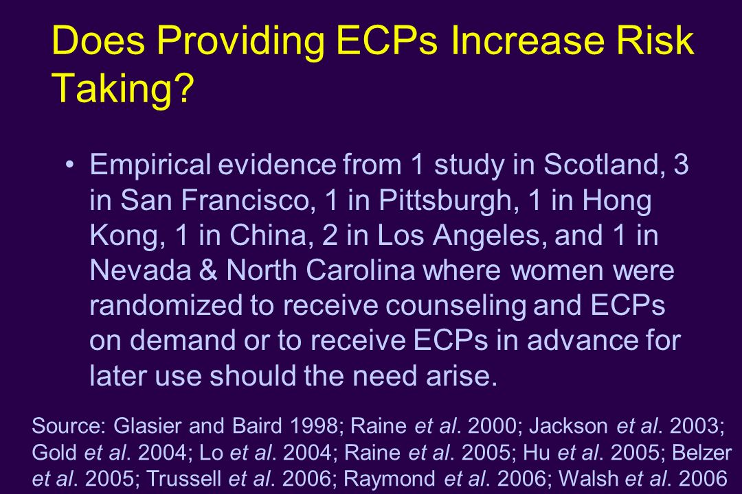 Does Providing ECPs Increase Risk Taking