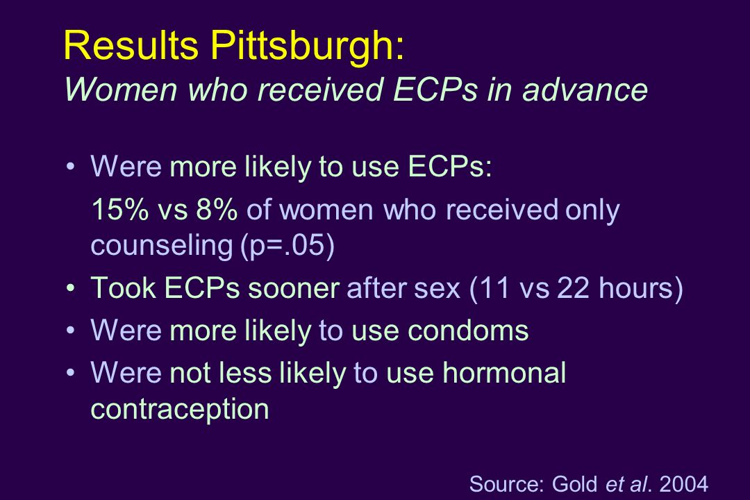 Results Pittsburgh: Women who received ECPs in advance