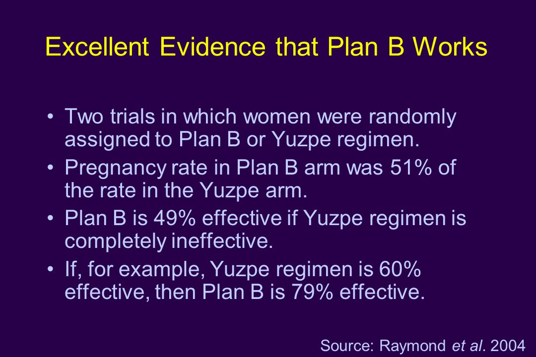 Excellent Evidence that Plan B Works