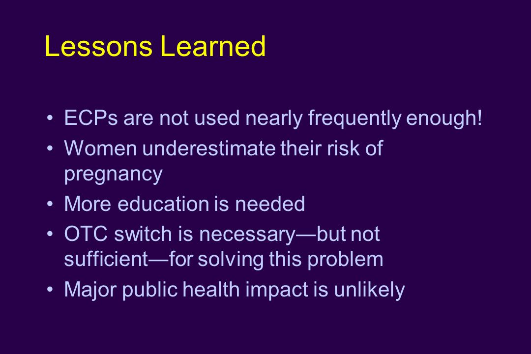 Lessons Learned ECPs are not used nearly frequently enough!