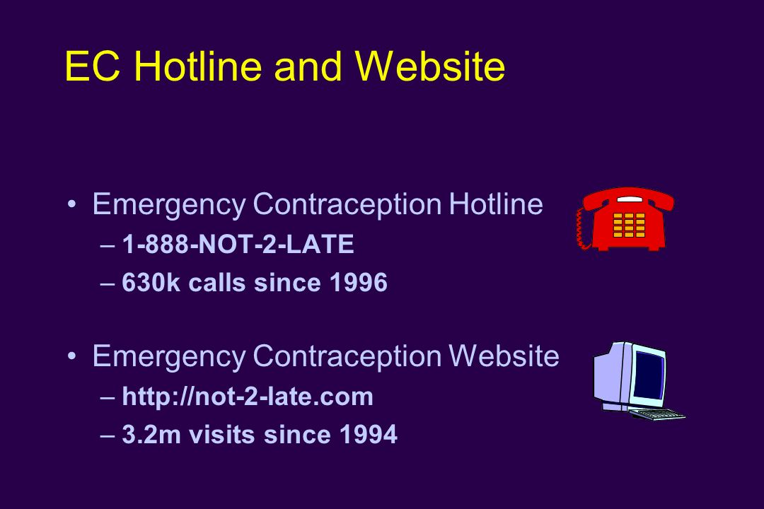 EC Hotline and Website Emergency Contraception Hotline