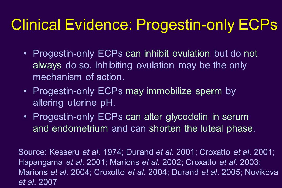 Clinical Evidence: Progestin-only ECPs