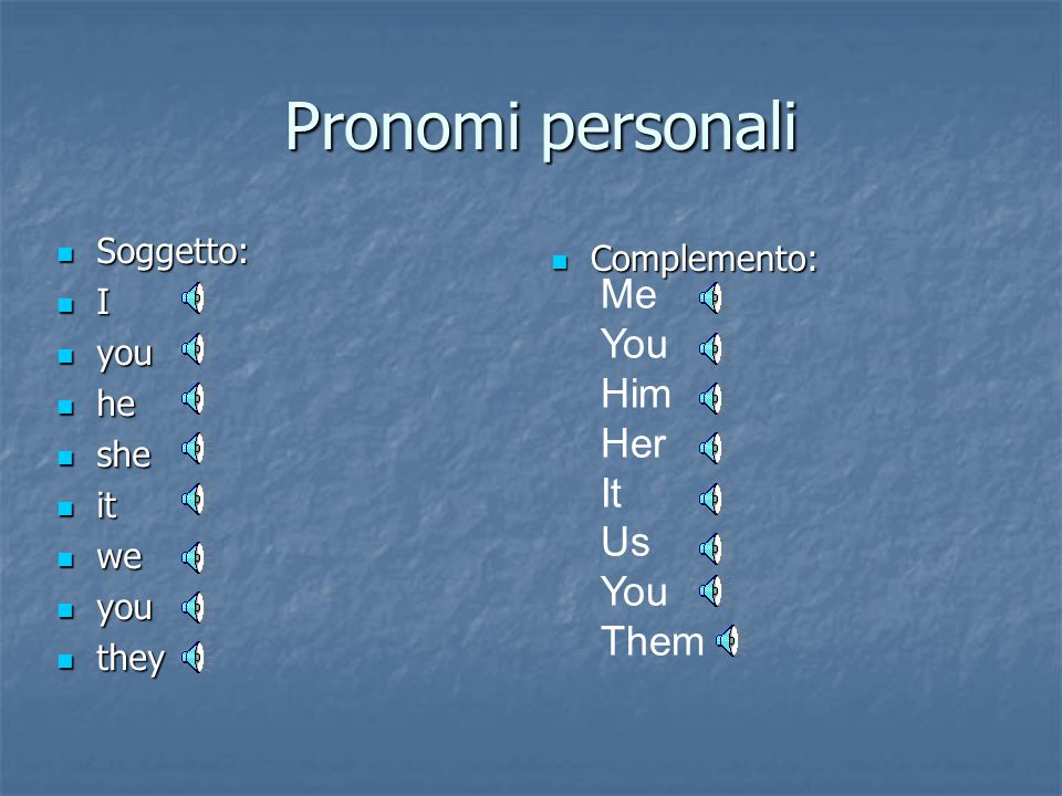 Pronomi personali Me You Him Her It Us Them Soggetto: Complemento: I