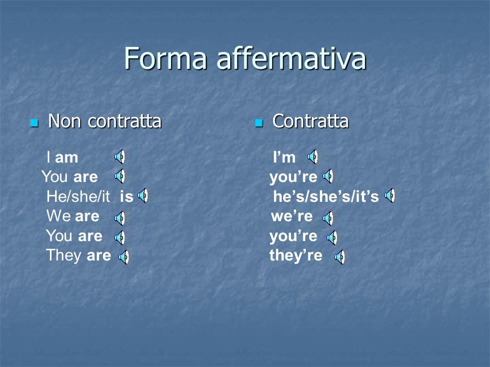 Forma affermativa Non contratta Contratta I am I'm You are you're