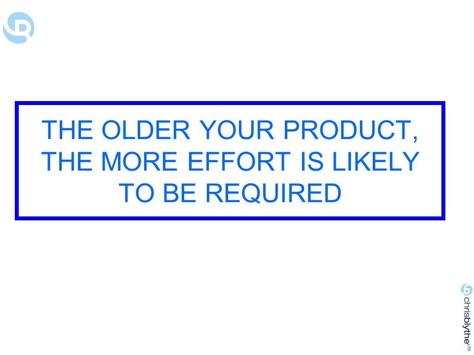 THE OLDER YOUR PRODUCT, THE MORE EFFORT IS LIKELY TO BE REQUIRED