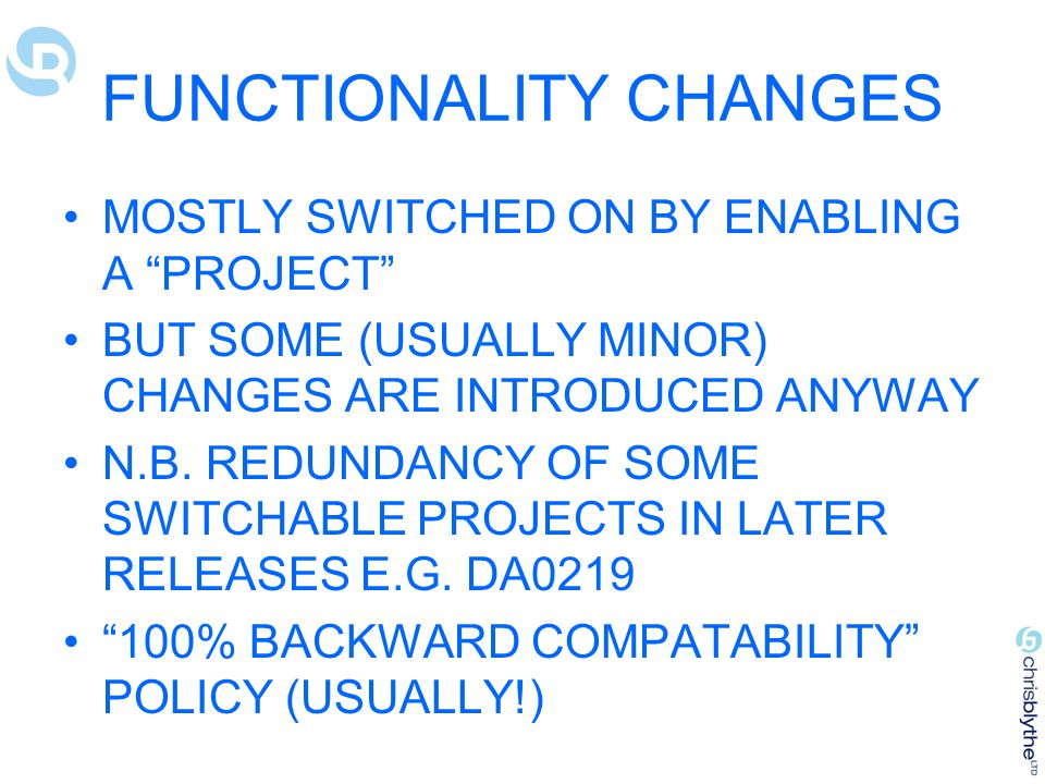 FUNCTIONALITY CHANGES