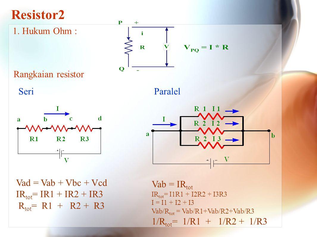 Resistor2 1. Hukum Ohm : Rangkaian resistor Seri Paralel