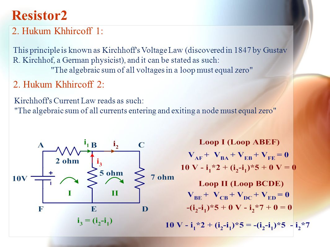 The algebraic sum of all voltages in a loop must equal zero