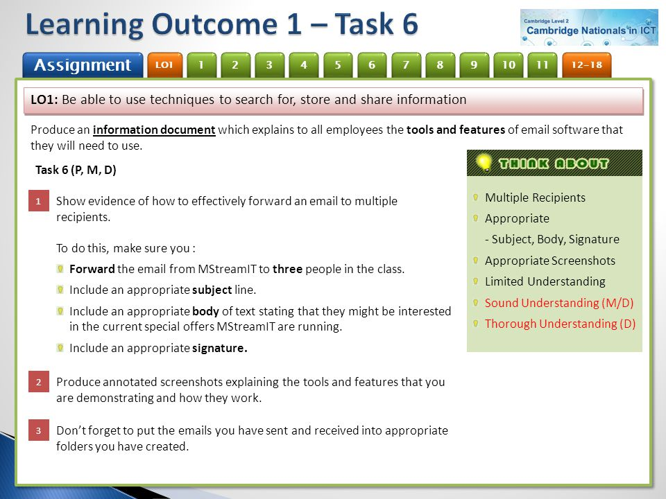 Learning Outcome 1 – Task 6