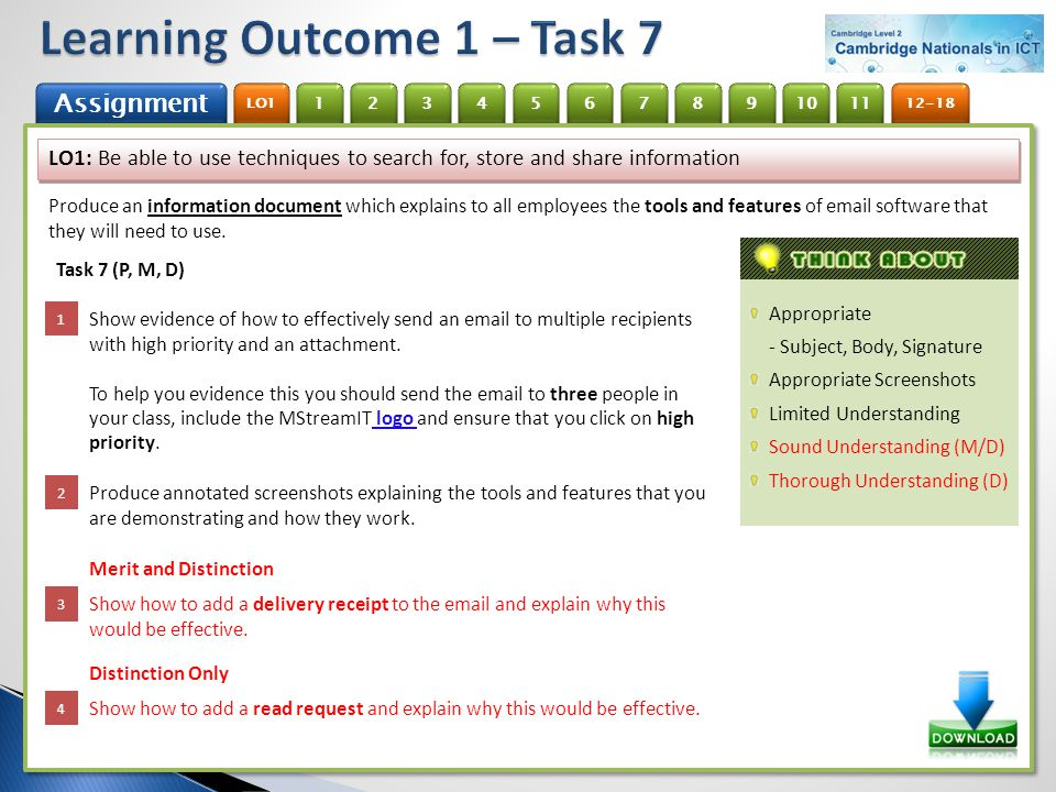 Learning Outcome 1 – Task 7