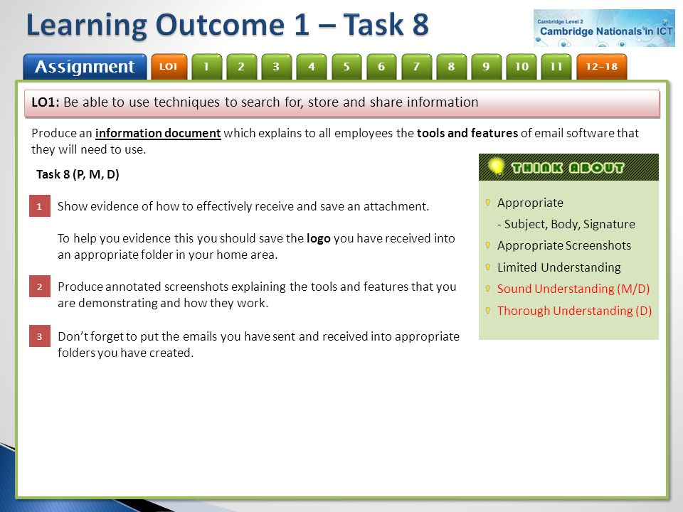 Learning Outcome 1 – Task 8