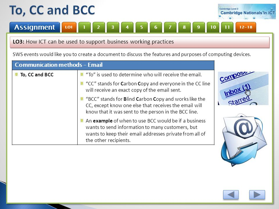 To, CC and BCC LO3: How ICT can be used to support business working practices.