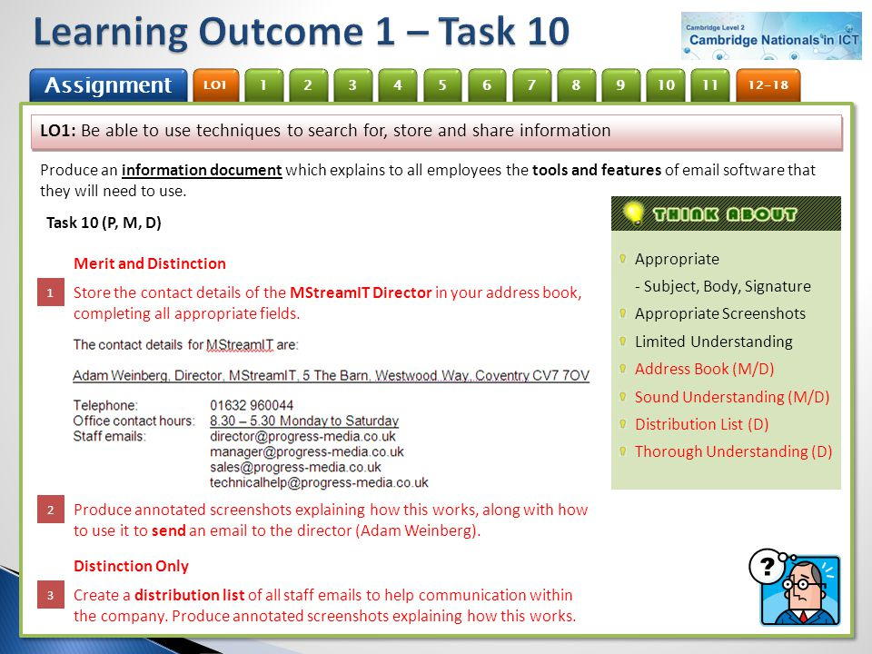 Learning Outcome 1 – Task 10