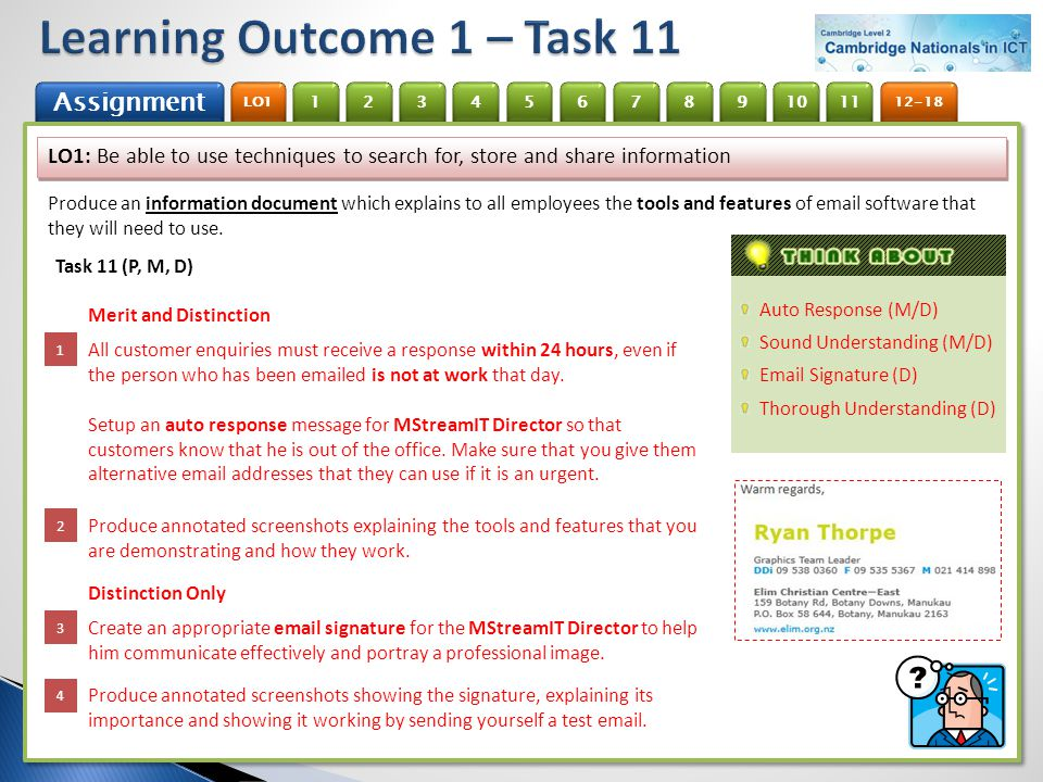 Learning Outcome 1 – Task 11