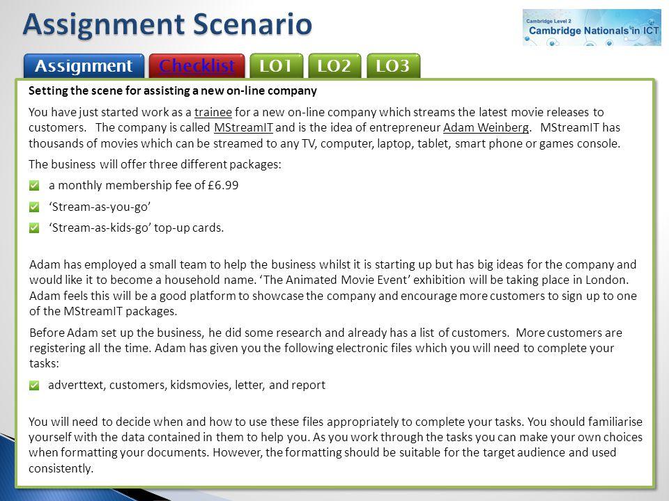 Assignment Scenario Assignment Checklist LO1 LO2 LO3
