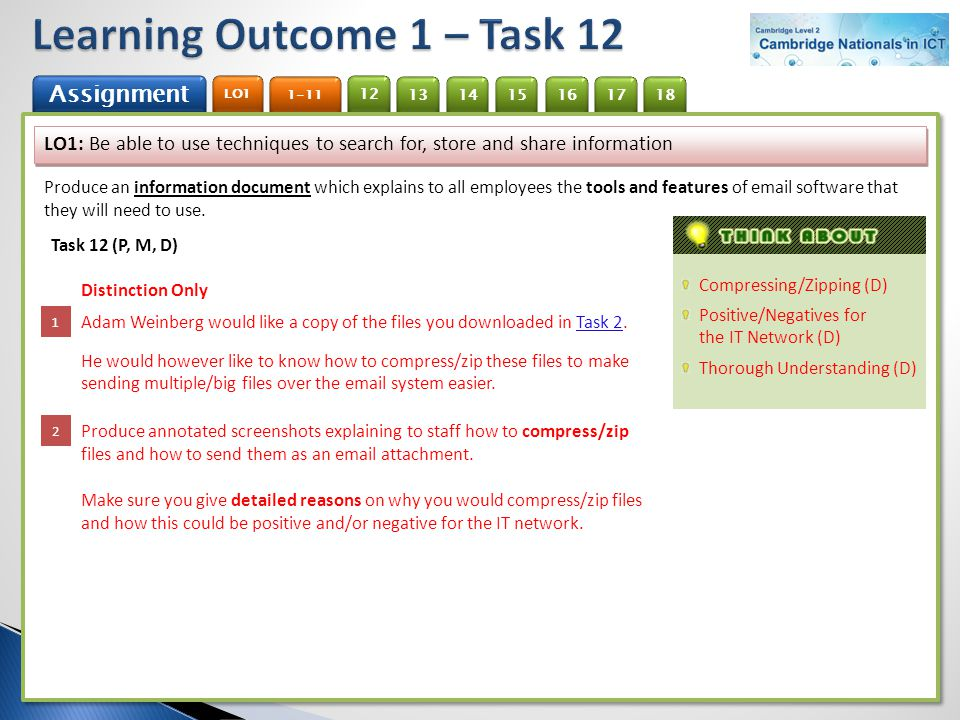 Learning Outcome 1 – Task 12