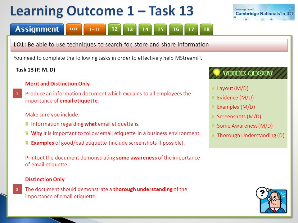 Learning Outcome 1 – Task 13