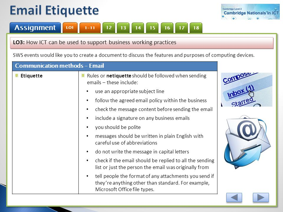 Email Etiquette LO3: How ICT can be used to support business working practices.