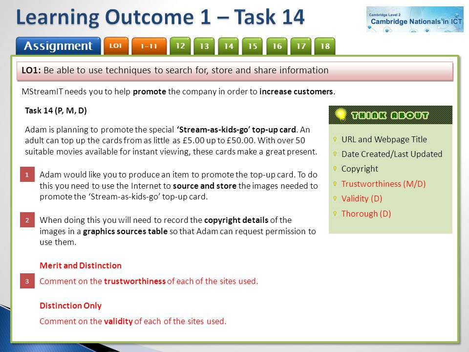 Learning Outcome 1 – Task 14