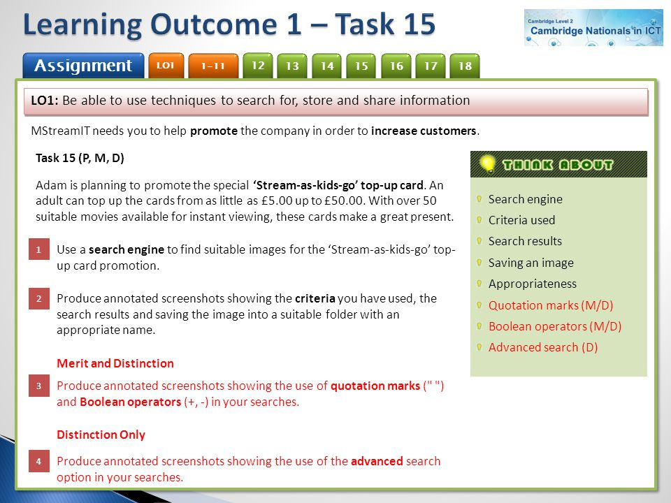 Learning Outcome 1 – Task 15