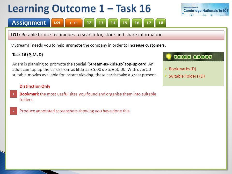 Learning Outcome 1 – Task 16