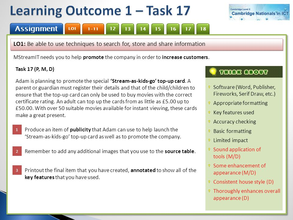 Learning Outcome 1 – Task 17