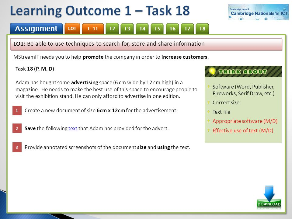Learning Outcome 1 – Task 18