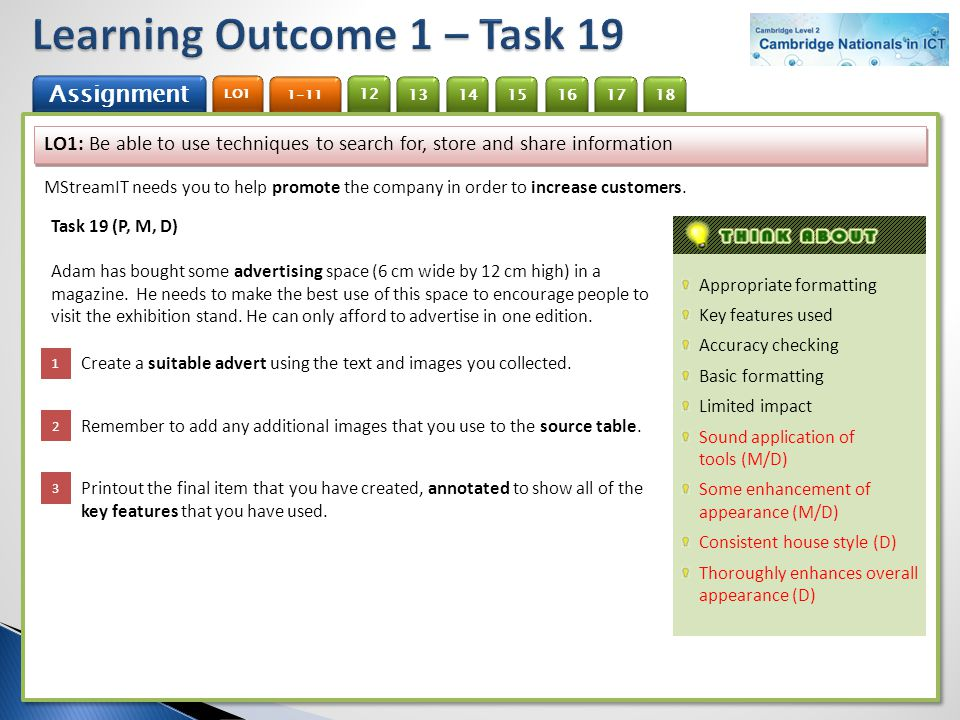 Learning Outcome 1 – Task 19