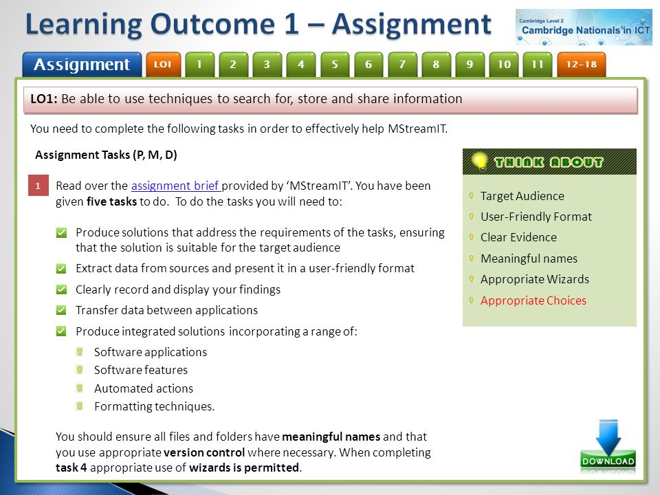 Learning Outcome 1 – Assignment