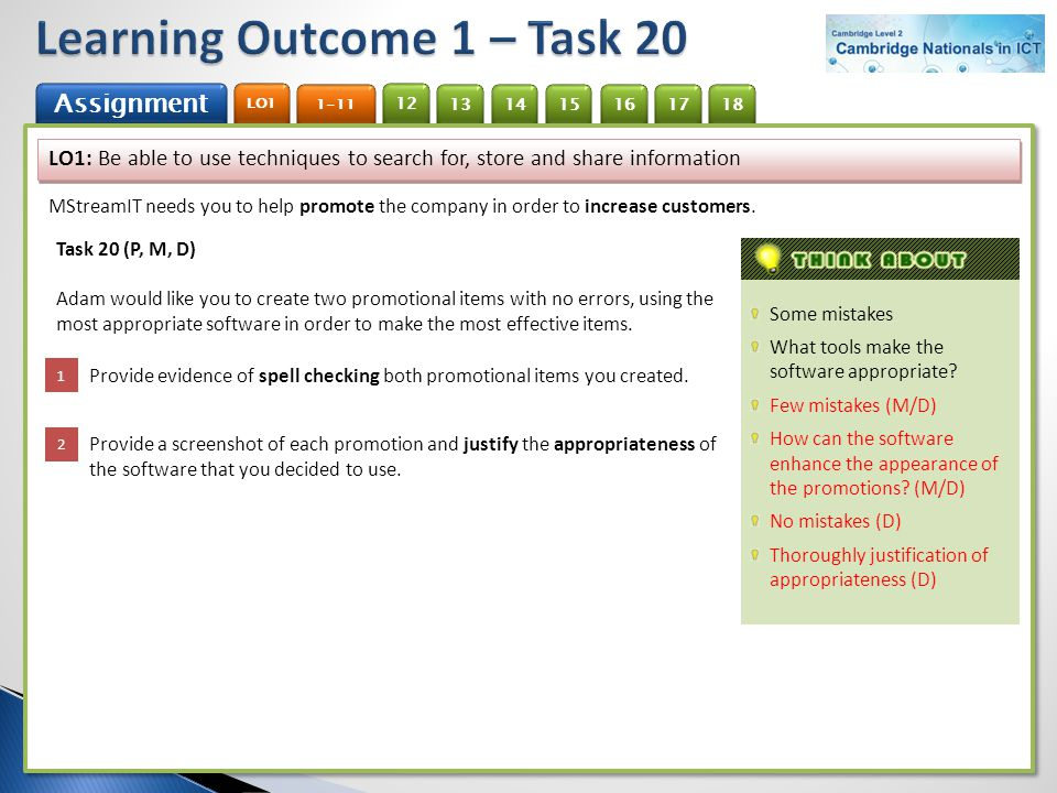 Learning Outcome 1 – Task 20