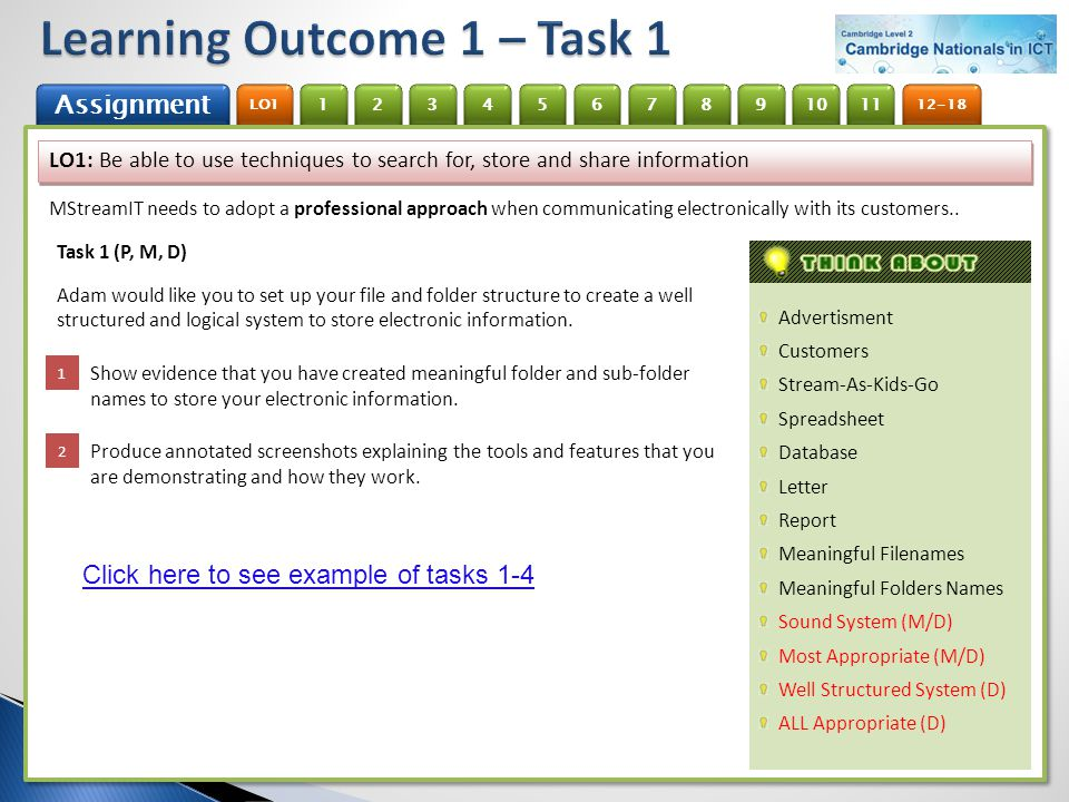 Learning Outcome 1 – Task 1