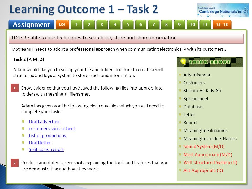 Learning Outcome 1 – Task 2