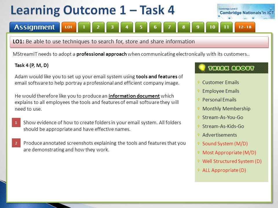 Learning Outcome 1 – Task 4